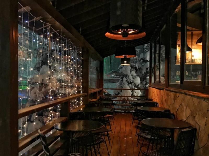 рестораны 2020, зимний ресторан. ресторан зимой. новогоднее оформление