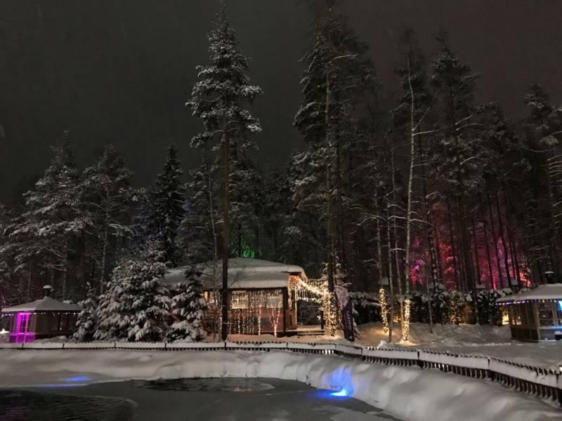 Охта Парк, рестораны 2020, зимний ресторан. ресторан зимой. новогоднее оформление