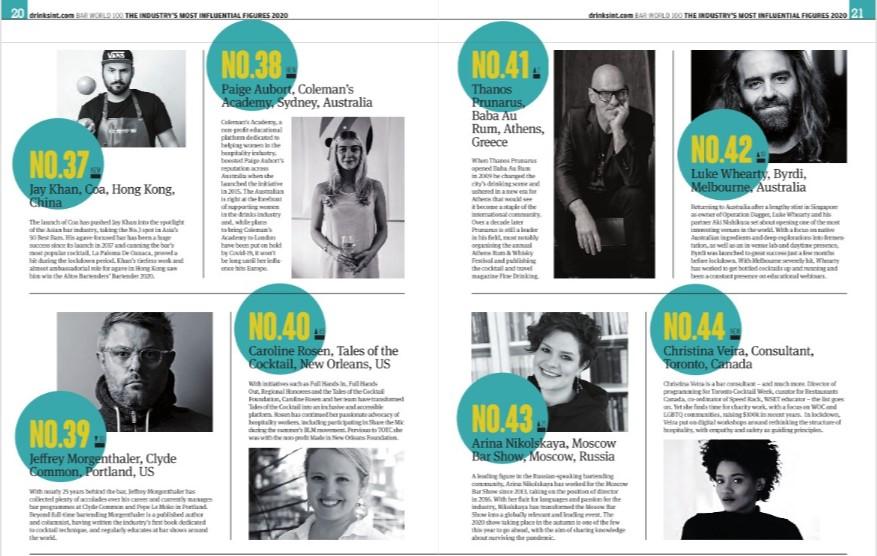 топ-100 самых влиятельных барменов, перук, никольская,dcw magazine, журнал о барах, барный рейтинг, лучшие бармены мира, кратена, drinks international
