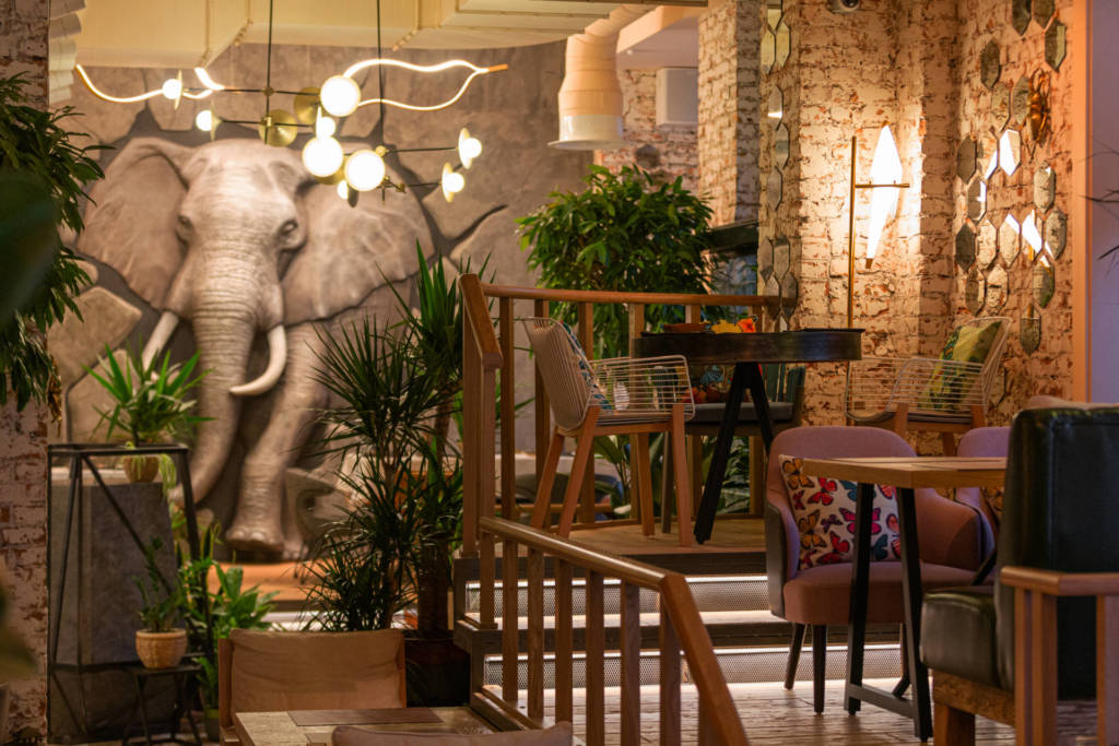 ресторан Chang, ресторан спб, новый ресторан, азистский ресторан, ресторан в московском районе, куда пойти в московском район, паназия, интерьер ресторана, слон из стены