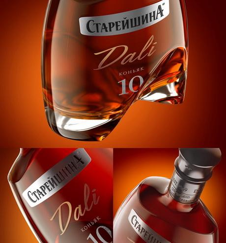коньяк старейшина, сальвадор дали, стерйшина дали, коньяк, дизайн, форма бутылки, логотип, dcw magazine, журнал об алкоголе